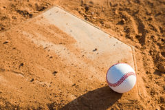 Baseball Homeplate with baseball on it Royalty Free Stock Photo