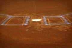 Baseball Homeplate Batter Box Chalk Line Brown Clay Dirt stock photo
