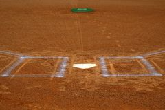 Baseball Homeplate Batter Box Chalk Line Brown Clay Dirt stock images