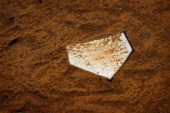 Baseball Homeplate in Brown Dirt for Sports American Past Time Stock Photo