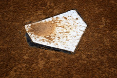 Baseball HomePlate Home Base Score Game Competition. Baseball home plate base in rich fresh dirt Stock Images