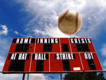 Baseball Homerun with Scoreboard Stock Images
