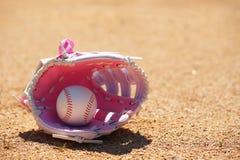 Baseball i rosa handske på fält Fotografering för Bildbyråer