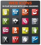 Baseball icon set. Baseball icons set in flat design with long shadow Royalty Free Stock Image