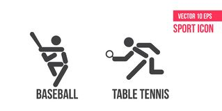 Baseball icon and table tennis, ping pong icon, logo. Set of sport vector line icons. athlete pictogram royalty free illustration