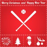 Baseball Icon Vector. And bonus symbol for New Year - Santa Claus, Christmas Tree, Firework, Balls on deer antlers Stock Photos