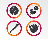 Baseball icons. Ball with glove and bat symbols. Baseball sport icons. Ball with glove and bat signs. Fireball symbol. Infographic design buttons. Circle Royalty Free Stock Image