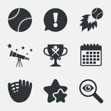 Baseball icons. Ball with glove and bat symbols. Baseball sport icons. Ball with glove and two crosswise bats signs. Fireball with award cup symbol. Attention Royalty Free Stock Photos