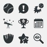 Baseball icons. Ball with glove and bat symbols. Royalty Free Stock Photos