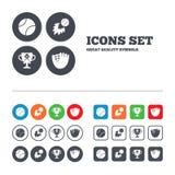 Baseball icons. Ball with glove and bat symbols Royalty Free Stock Image