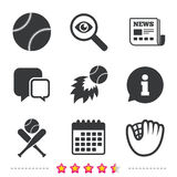 Baseball icons. Ball with glove and bat symbols. Royalty Free Stock Photography