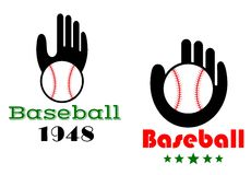 Baseball icons or emblems with people hand Royalty Free Stock Photos