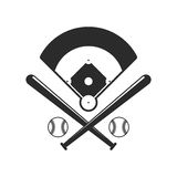 Baseball icons. Field, bals and baseball bats in flat style  on white background. Baseball icons. Field, bals and baseball bats in flat style  on white Stock Photography