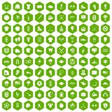 100 baseball icons hexagon green. 100 baseball icons set in green hexagon isolated vector illustration Stock Photography