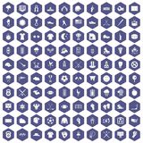 100 baseball icons hexagon purple. 100 baseball icons set in purple hexagon isolated vector illustration stock illustration