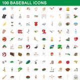 100 baseball icons set, cartoon style. 100 baseball icons set in cartoon style for any design illustration stock illustration