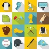 Baseball icons set, flat style Royalty Free Stock Photo