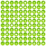 100 baseball icons set green circle. Isolated on white background vector illustration Stock Photo