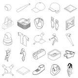 Baseball icons set, isometric 3d style. Baseball icons set in isometric 3d style on a white background Royalty Free Stock Images