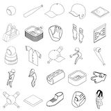 Baseball icons set, isometric 3d style. Baseball icons set in isometric 3d style on a white background Royalty Free Stock Photography