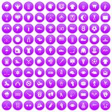 100 baseball icons set purple. 100 baseball icons set in purple circle isolated on white vector illustration vector illustration