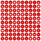 100 baseball icons set red. 100 baseball icons set in red circle isolated on white vector illustration Stock Photos