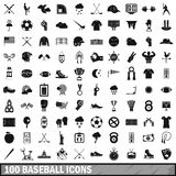 100 baseball icons set, simple style Stock Photo
