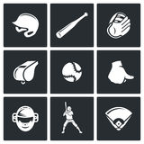 Baseball icons set. Vector Illustration. Royalty Free Stock Photography