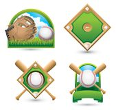 Baseball icons and symbols on white backdrop Royalty Free Stock Photo