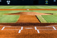 Baseball infield Joe Riley Stadium. Baseball infield looking from home plate, past the pitcher`s mound towards second base Royalty Free Stock Images