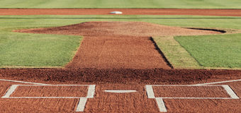 Baseball infield. Looking from home plate, past the pitcher`s mound towards second base Royalty Free Stock Images