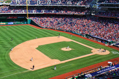 Baseball Infield - Nationals Park. A view of Nationals Park from high in left field, home of the Major League Baseball Washington Nationals, on a beautiful blue Stock Images