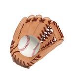 Baseball inside glove isolated Royalty Free Stock Image