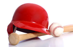 Baseball Items. On a white background including a batting helmet a wooden baseball bat and a baseball Stock Photography