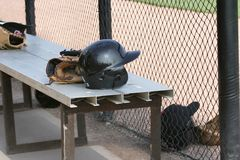 Baseball Items. Including a batting helmet  baseball and glove Royalty Free Stock Photography