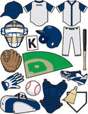Baseball Items. Items/Equipment used in the sport of Baseball Royalty Free Stock Photo