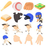 Baseball items icons set, cartoon style Stock Photos