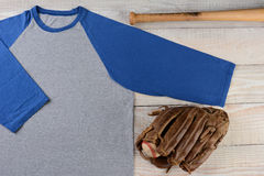 Baseball Jersey With Glove and Bat Royalty Free Stock Photos
