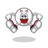 Baseball jumping mascot vector cartoon illustration vector illustration