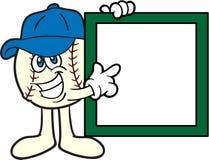 Baseball-Karikatur-Maskottchen, das auf ein Zeichen zeigt Stockbilder