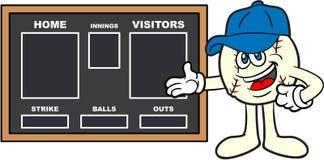 Baseball-Karikatur-Maskottchen, das eine Anzeigetafel zeigt Lizenzfreies Stockbild
