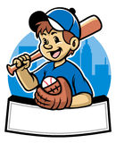 Baseball kid. Character with text space banner Stock Images