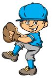 Baseball Kid. Vector cartoon of a boy about to throw a baseball pitch Royalty Free Stock Photos