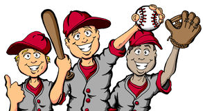 Baseball Kids. Vector cartoon of a group of children ready to play baseball Stock Photos