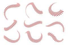 Baseball koronki ustawiać Baseballi ściegi z czerwonymi niciami Sportów graficzni elementy i bezszwowi muśnięcia ilustracja wektor