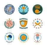 Baseball labels icons color set Royalty Free Stock Photography