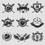 Baseball labels and icons set. Vector Royalty Free Stock Image