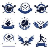 Baseball labels and icons set. Vector. Plate, sport, retro Stock Photography