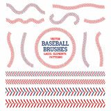 Baseball laces set. Baseball seam brushes. Red and blue stitches. Laces for baseball ball decoration. Vector vector illustration