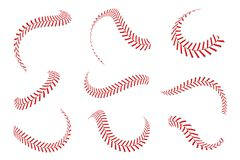 Free Baseball Laces Set. Baseball Stitches With Red Threads. Sports Graphic Elements And Seamless Brushes Royalty Free Stock Photo - 139934615